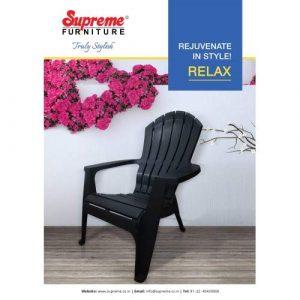 plastic chair set having relaxing back