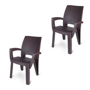 set of plastic chair in brown