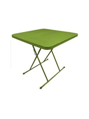 Height adjustable plastic dinning table in green