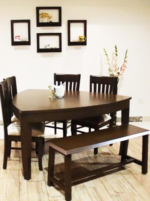 6 seater dinning table set with bench