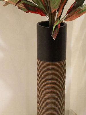 Wooden vase in brown color