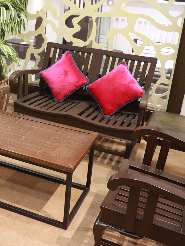 4 seater wooden sofa