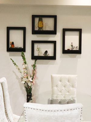 Wooden wall shelf for decorative and utility purpose