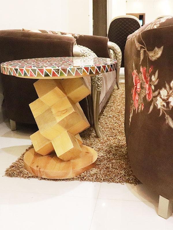 Multicolor circular centre table cum side stool