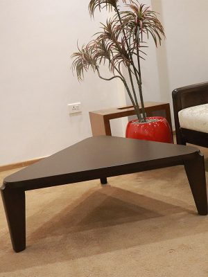 Triangular teakwood coffee table