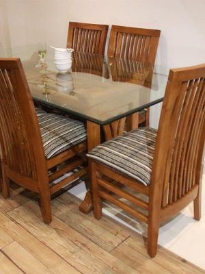 6 seater dinning table set having mirror top