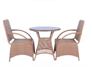 Outdoor chair table set Beige